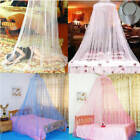 White Pink Blue Round Lace Curtain Dome Bed Canopy Netting Princess Mosquito Net image