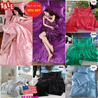 US 4X/Set Silk Bedsheet Bedspreads Queen King Bed Sheet Duvet Cover Pillowcase image