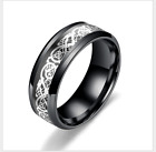 8MM Silvering Celtic Dragon Stainless steel Ring Mens Jewelry men's