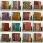 Reversible Blanket Kantha Quilt Blanket Indian Vintage Bedding Quilt Gudari Lot image