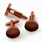 Aged Copper Cufflink Setting Blanks Fits 16mm Cabochon