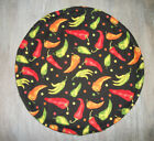 """Chili Peppers Tossed Yellow Orange Red 10"""" Round Tortilla Flatbread Naan Warmer"""