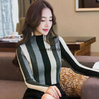 Womens Turtleneck Sweater Pullover Knit Top Striped Bottom T Shirt Office Blouse