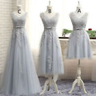 Short/Long Bridesmaid Dress V neck Lace Cocktail Prom Party Ball Homecoming Gown