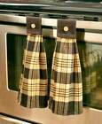 Set of 2 Hanging Country Kitchen Hand Towels Plaid Design Primitive in 4 Colors