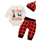 My First  Christmas Newborn Baby Boy Girl Romper Pants Hat Outfits Clothes 0-24M