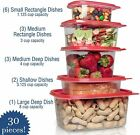 30 Piece Set - Microwave & Reusable Plastic Food Storage Containers Set