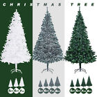 5FT 6FT 7FT 8FT Artificial Christmas Pine Tree Holiday Green/White/Snow Flocked
