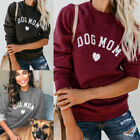 Women Dog Cat Mom Letter Print Casual Long Sleeve T-shirt Ladies Blouse Tops
