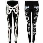 WOMENS LADIES GOTHIC SKELETON BONE HALLOWEEN PRINTED PANTS LEGGING 8-22