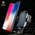 Baseus Car Mount Qi Wireless Charger For iPhone XS Max X XR 8 Fast Wireless