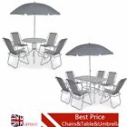 6/8 Piece Outdoor Dining Set Garden Table Chairs Textilene Grey Patio Furniture