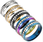 Sz5-13 Men/women Cz Couple Stainless Steel Wedding Ring Titanium Engagement Band