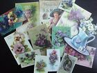 BB15A -- Lot of 14 Vintage Purple Panises and Lilacs DIE CUTS for CARD MAKING