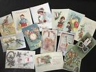 BB51 Lot of 14 Adorable VINTAGE NEW YEAR GREETING DIE CUTS for crafts making