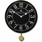 Black & White Pendulum Wall Clock  Perfect Round Home Wall Craft Battery Operate