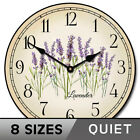 Lavender Vintage Wall Clock Ultra Quiet Non ticking Battery Operated