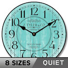 Harbor Turquoise Clock, large wall clock, Ultra Quiet, 8 sizes, Life Warranty