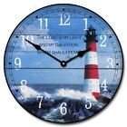 Lighthouse Wall Clock Perfect Round Home Wall Decor Craft Ultra Quiet Battery Op