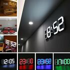 Modern Digital 3D White LED Wall Clock Alarm Clock Snooze 12/24 Hour Display C8