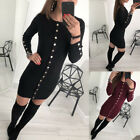 Uk Womens Buttons Long Sleeve Knitted Sweater Jumper Dress Ladies Casual Bodycon