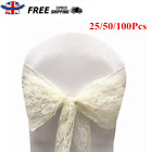 25/50/100Pcs White Lace Bow Sash Chair Cover Sashes For Wedding Banquet Party UK