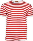 Run & Fly White and Red Striped Short Sleeve T-Shirt 60s Retro