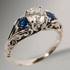 UK Women 925 Silver White Sapphire Ring Wedding Engagement Jewelry Size 6-10