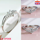 925 Sterling Silver V-heart Aaa Zircon Diamond Rings Womens Wedding Jewelry