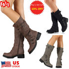 Women Low Heel Buckle Biker Boots Ladies Strappy Shoes Mid Calf Boots Shoes Size