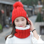 US Snow Beanie PomPom Hat Women Thick Warm Soft Cable Scarf Winter Knit 2pcs Set