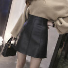 Women's Faux Leather Slim Black A-Line High Waist Short Mini Skirt  S-2XL