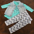NEW $55 JESSICA SIMPSON 3 pc set Outfit Denim Vest Top Leggings Baby Girl 12 m