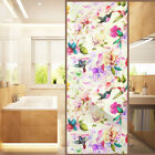 Flower Print Window Film Sticker Static Privacy Frosted Stained Glass Décor