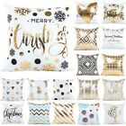 Внешний вид - Christmas Pillow Case Glitter Cotton Linen Sofa Throw Cushion Cover Home Decor