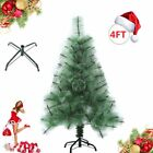 Green 4/5/6/7/8ft Artificial Christmas Tree W/Solid Stand Holiday Indoor Outdoor