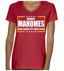 "V-NECK Ladies Patrick Mahomes Kansas City Chiefs ""Make Kansas City Great"" Shirt $15.99 USD on eBay"
