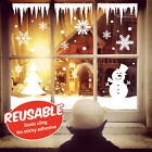 Reusable Static Cling Christmas Snow Scene Window Stickers Snowflakes Snowman