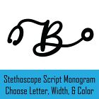RN Nurse Stethoscope Script Monogram Decal Sticker for Yeti Tumbler iPhone Jeep