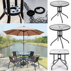 Round/Square Tempered Glass Coffee Tables Solid Iron Legs Garden Patio Tea Table