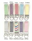 Multi Color Chevron Wave and Beige Webbing Mini Key Fob with key ring image