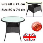 Poly Rattan Side Table PE Rattan Patio Garden Deck Coffee Round Glass Top Home