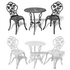 3 Pieces Bistro Set Outdoor Garden Table And Chairs Cast Aluminium Green/white