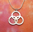 Borromean Rings Necklace, Tripod of Life, Stainless Steel Charm Pendant Trefoil