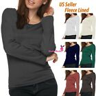 Women Warm Fleece Lined Crew Neck Long Sleeve Shirt Round Neck Winter Shirt