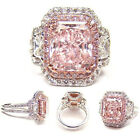 Crystal Women Sterling Silver Ring Pink Rhinestone Rings Wedding Jewelry Uk New