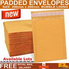 Gold Padded Bubble Lined Envelopes Bags Postal Bag Mailing Wrap Size 290mmx200mm