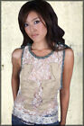 Parasuco Floral Angel Wings Gold Metallic Thread Women Tank Top White Lace NEW L