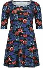Womens 16-24 Fab Blue Red Floral Print Swing Dress Long Tunic Top 3 4 sleeves