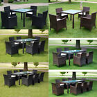 Outdoor Patio Rattan Wicker Furniture Garden Dining Set W/cushions 5pc/7pc/9pc